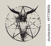 vector illustration with skull... | Shutterstock .eps vector #497738836
