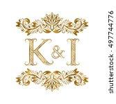 k and i vintage initials logo... | Shutterstock .eps vector #497744776