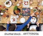 group of people dining concept | Shutterstock . vector #497759056