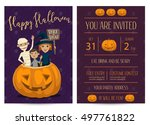 halloween party invitation with ... | Shutterstock .eps vector #497761822