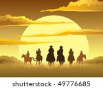 Team Of Cowboys Silhouette...