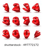 three dimensional number set 0... | Shutterstock .eps vector #497772172