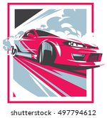 burnout car  japanese drift... | Shutterstock .eps vector #497794612