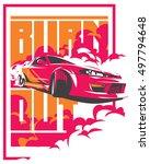 burnout car  japanese drift... | Shutterstock .eps vector #497794648