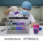 young asian scientist works in... | Shutterstock . vector #497800612