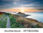 sunset from the south west... | Shutterstock . vector #497803486