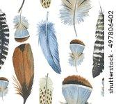 watercolor bird feather pattern ... | Shutterstock . vector #497806402