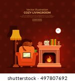 colorful vector cozy fireplace... | Shutterstock .eps vector #497807692