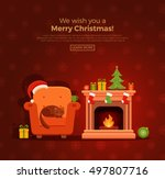 christmas fireplace room... | Shutterstock .eps vector #497807716