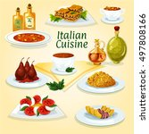 italian cuisine traditional... | Shutterstock .eps vector #497808166