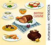 british cuisine lunch cucumber... | Shutterstock .eps vector #497808226