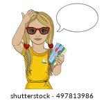 little girl with glasses...   Shutterstock .eps vector #497813986