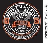 motorcycle rider typography  t... | Shutterstock .eps vector #497817052