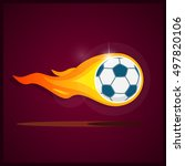 burning soccer ball.... | Shutterstock .eps vector #497820106