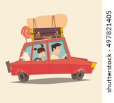 traveling by car. father... | Shutterstock .eps vector #497821405