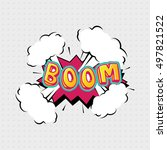 boom comic effects lettering... | Shutterstock .eps vector #497821522