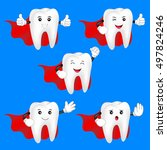 hero teeth character set. happy ... | Shutterstock .eps vector #497824246