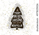 a very merry christmas  winter... | Shutterstock .eps vector #497825026
