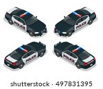 police car with rooftop... | Shutterstock .eps vector #497831395