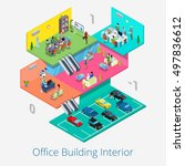 isometric office center... | Shutterstock .eps vector #497836612