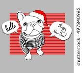 french bulldog portrait in a... | Shutterstock .eps vector #497840962