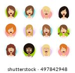 scared woman faces. scared face ... | Shutterstock .eps vector #497842948