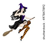 beautiful witch flying on... | Shutterstock .eps vector #497847892