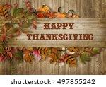 happy thanksgiving card | Shutterstock . vector #497855242
