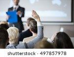 rear view of businesswoman...   Shutterstock . vector #497857978
