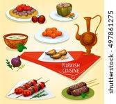 turkish cuisine kebab meat... | Shutterstock .eps vector #497861275
