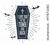 hand drawn halloween label with ... | Shutterstock .eps vector #497871082