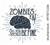 hand drawn halloween label with ... | Shutterstock .eps vector #497871106