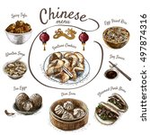 chinese food colorful... | Shutterstock .eps vector #497874316