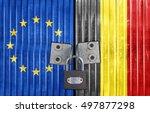 eu and belgium flag on door... | Shutterstock . vector #497877298