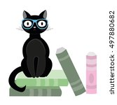 Stock vector black cat with glasses sitting on books vector illustration 497880682
