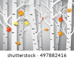 autumnal forest with falling... | Shutterstock .eps vector #497882416