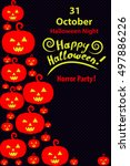 happy halloween holiday... | Shutterstock .eps vector #497886226
