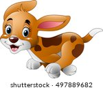 Cartoon Little Dog Running