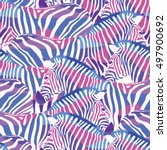 colorful zebra seamless pattern.... | Shutterstock .eps vector #497900692
