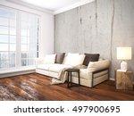 modern bright interior . 3d... | Shutterstock . vector #497900695