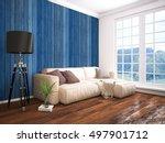 modern bright interior . 3d... | Shutterstock . vector #497901712