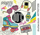 80's retro elements colorful ... | Shutterstock .eps vector #497907358