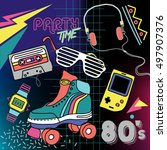 80's retro elements colorful ... | Shutterstock .eps vector #497907376