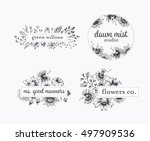 graphical floral labels with... | Shutterstock .eps vector #497909536