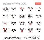 emotions. set of doodle faces.... | Shutterstock .eps vector #497909872