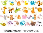 Stock vector vector illustration of cute animals and birds animal alphabet 497925916