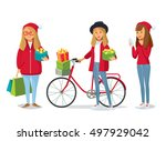 girls with christmas gifts and... | Shutterstock .eps vector #497929042