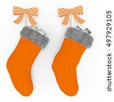 Orange Christmas Stockings On...