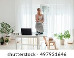 stylish woman have a phone call ... | Shutterstock . vector #497931646