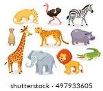 set of savannah animals | Shutterstock .eps vector #497933605